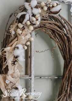 Farmhouse Wreath with Canvas and Burlap - using Canvas Corp Brands products. www.sheilarumney.com