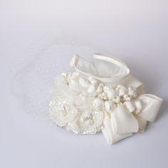 【ヘッドドレス】お花&リボンヘッドドレス[チュール付き]/ウェディングアクセサリー~mekku~【メック】