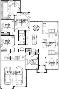 Single Story Open Floor Plans | ... Plan, Single Level One Story ...