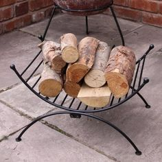 Fireplace Log Holder Storage Stand Chiminea Fire Accessories Indoor Decor Gift for sale online Firewood Rack Plans, Indoor Firewood Rack, Firewood Storage, Firewood Holder, Modern Storage Bench, Cube Storage Shelves, Ikea Storage, Shelving, Food Storage Rooms