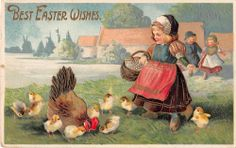 Easter Greetings Girl with Chicks & Hen in Field Antique Postcard (J7847)