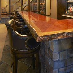 Stone bar w wood top