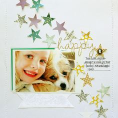 Happy layout by Danielle Flanders, guest designer, using the Devious Darling kit from December Little Black Dress Kit Club. Dog Scrapbook, Birthday Scrapbook, Photo Album Scrapbooking, Scrapbook Sketches, Scrapbook Albums, Scrapbook Supplies, Scrapbooking Layouts, Scrapbook Cards, Picture Scrapbook
