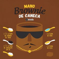 Infográfico receita de Mano Brownie de caneca, receita muito rápida e fácil de preparar. Melhor receita na caneca. Ingredientes: farinha de trigo, chocolate em pó, açúcar, água, óleo e chocolate em barra.