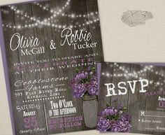 DIY Printable Rustic Wedding Invitation Suite - Summer Barn Wedding Invite w/ String Lights, Mason Jar & Purple Peonies - Digital or Printed by X3designs