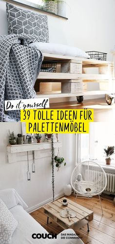 Pallet furniture: start your DIY project!- With pallets you can easily build furniture yourself! Whether bed, sofa or coffee table – here we show you 39 ideas for DIY furniture with pallets! Discover even more living ideas on COUCH # Palette furniture Palette Furniture, Diy Furniture Couch, Diy Pallet Furniture, Upcycled Furniture, Building Furniture, Furniture Stores, Diy Home Decor On A Budget, Cheap Home Decor, Cama Ikea