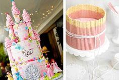 gâteaux superbes en forme d'un chateau rose