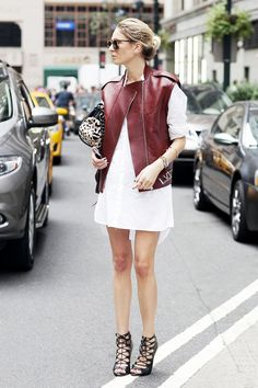 How to Wear a Leather Jacket for Every Occasion via @WhoWhatWearUK