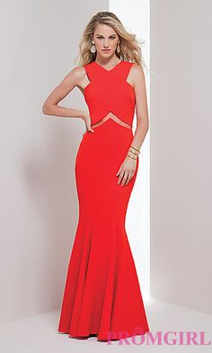 Sheer Cut Out Long Prom Dress at PromGirl.com