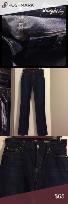 7 for all man kind skinny dark blue jeans Dark blue skinny jeans worn only once, in perfect condition. Size 27, straight leg. 7 For All Mankind Jeans Skinny