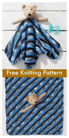 Teddy Bear Lovey Free Knitting Pattern #freeknittingpattern #blanket