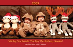 Cute ideas for xmas cards!   Berg Twins: Annual Christmas Photos and Other Holiday Traditions