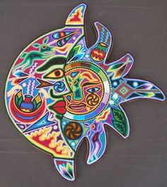 Specializing in rare selected Mexican Folk Art and Crafts and prehispanic instruments Yarn Painting, Native American Design, Indigenous Art, Mexican Folk Art, Future Tattoos, Art Activities, Stars And Moon, Bead Art, Graphic Design Inspiration