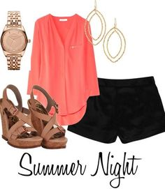 How amazing is this coral top?! Love the   whole Polyvore outfit - especially the brown wedges paired with the black   shorts. Can't wait for Summer Nights!