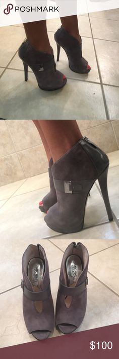 Michael Kors Peep Toe Pumps Perfect condition. Worn twice. Gray suede. MICHAEL Michael Kors Shoes Ankle Boots & Booties