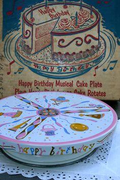 Vintage Happy Birthday Rotating Musical Cake