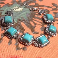 Butterfly Border Turquoise Bracelet Pretty designed turquoise stones create this simple bracelet. Jewelry Bracelets