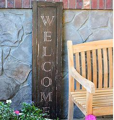 faux vintage welcome sign from used cabinet door, diy home crafts, repurposing upcycling