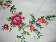 Embroidered Rose Tablecloth by GroovyRejuvy on Etsy, $30.00: