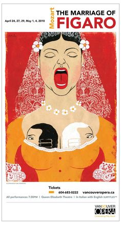 Le nozze di Figaro / The Marriage of Figaro (Wolfgang Amadeus Mozart) - Poster by Edel Rodriguez