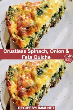 Crustless Spinach, Onion and Feta Quiche – Weight Watchers Recipes, weight watchers dinner recipes, Ww Recipes, Brunch Recipes, Vegetarian Recipes, Cooking Recipes, Recipies, Vegetarian Quiche, Best Breakfast Recipes, Cooking Games, Easter Recipes