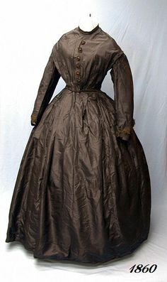 1860's SILK MOURNING DRESS FRONT