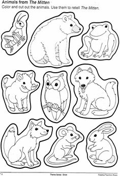 Animals from the mitten. You can cut these out and use to retell--or use in a Venn diagram comparing different versions of the story. by melody
