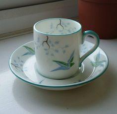 VINTAGE HANDPAINTED circa 1919+ JACKSON&GOSLING BONE CHINA COFFEE CUP&SAUCER