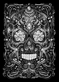 MEXICAN SKULL . HAPPY TILL THE END by Fly Design Studio, via Behance