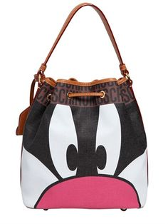 MOSCHINO LOONEY TUNES FAUX LEATHER BUCKET BAG