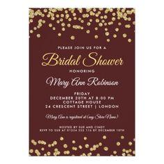 Bridal Shower Gold Faux Glitter Confetti Marsala Card - bridal shower gifts ideas wedding bride