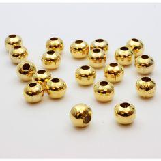 Perles rondes métallisées x20pcs - dorées 8mm - lot de perles en métal