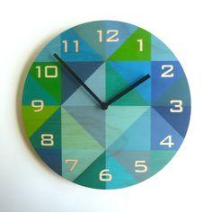 Objectify Grid Blue-Green Plywood Wall Clock With Numerals - Medium Size Green Plywood, Plywood Walls, Pine Plywood, Ply Wood, Green Wall Clocks, Wood Clocks, Clock Wall, Diy Clock, Decoupage