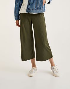 Ribbed culottes - Trousers - Clothing - Woman - PULL&BEAR Viet Nam