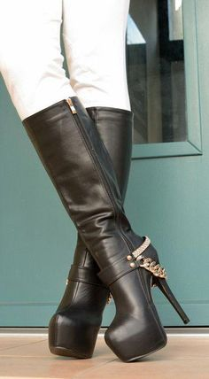 Women Cow Leather knee boot gothic wing tip zip high heel platform lace up shoes