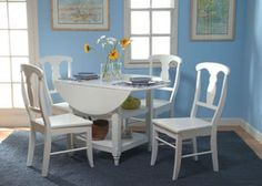 Dining set Small Cheap White  Kitchen Table & Chairs Round Drop Leaf 5 Piece set #Cottage
