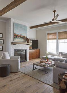 Comfortable Living Room >> Lovelace Interiors, Designer Linda Holman>> | Wood Mantle | Rustic Living Room | Wood Beams