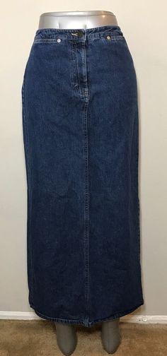 Eddie Bauer Womens Size 4 Skirt Denim Jean Maxi Modest Long Vented     eBay