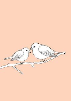Two love birds on a branch Original Art pen sketch  by HadasBosi, $20.00