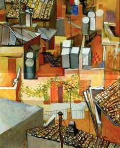 Renato Guttuso (Italian, - The Roofs of the Leonine Away with Climbing, Italian Paintings, Art Series, Italian Artist, Impressionism Art, Renoir, Abstract Canvas, Cool Artwork, Figurative Art, Installation Art