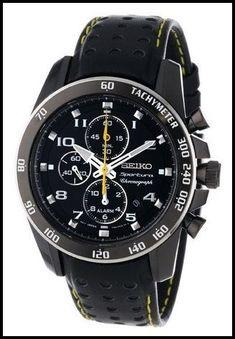 f505ad58ae74 Seiko Sportura SNAE67 Black Leather Band Men s Watch