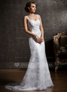 Wedding Dresses - $198.99 - Trumpet/Mermaid Sweetheart Chapel Train Satin Lace Wedding Dress With Beading (002011465) http://jjshouse.com/Trumpet-Mermaid-Sweetheart-Chapel-Train-Satin-Lace-Wedding-Dress-With-Beading-002011465-g11465