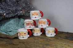 Set of Six Vintage Santa Claus Mugs / Cups // Made in Japan. $26.00, via Etsy.