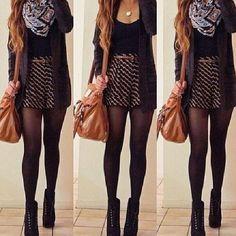 cardigan skirt belt tights