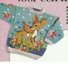 DIY via Marktplaats. Eerst trui breien en later Bambi erop mazen. Patroon is verkrijgbaar in de maten 98 - 110 en 122.