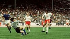Poland 2 Italy 1 in 1974 in Stuttgart. Kazimierz Deyna got Poland's 2nd goal on 44 minutes in Group 4 at the World Cup Finals.