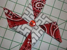 3 Black White and Red Bandana  Print Fabric Pinwheel Ornaments Handcrafted Christmas Home Decor by TheRoyaleRagbag on Etsy