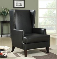 """High back button pin trimmed black leather like vinyl upholstered side accent chair.  Measures 29"""" x 32"""" x 43"""" H. Some assembly required."""