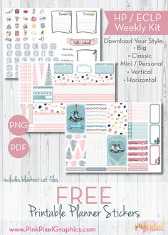 FREE 2018 Winter Skater Girl weekly planner stickers: Download your free planner printable. These free kits will fit just about any planner. See more at www.pinkpixelgraphics.com {subscription required}