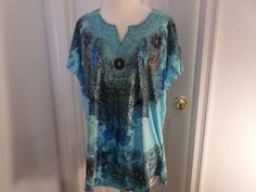 Bleu Top Blouse Embellished Beads Size 1X Multi Color #Bleu #BlouseTop